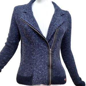 Hollister Moto Style Blue Sweater Jacket